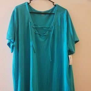 Teal lace up plus size top